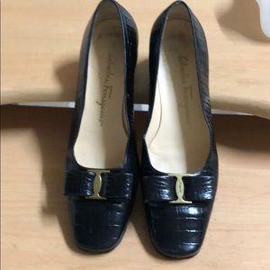 Salvatore Ferragamo Black Croc Flats 7.5